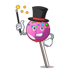 Magician lollipop with sprinkles mascot cartoon vector