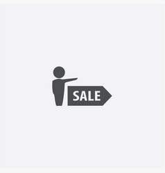 Man sale arrow icon vector