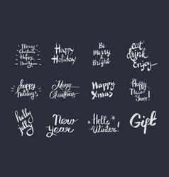 merry christmas and happy new year set with wishes vector image