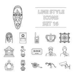 museum set icons in outline style big collection vector image