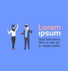 muslim business man and woman wearing vr glasses vector image