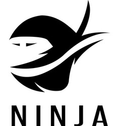 ninja simple icon isolated on white vector image