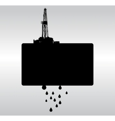 Oil drilling bw background vector image