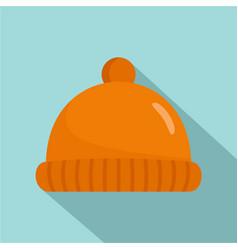 orange winter hat icon flat style vector image
