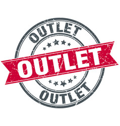 Outlet round grunge ribbon stamp vector