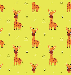 Pattern with cartoon giraffe vector