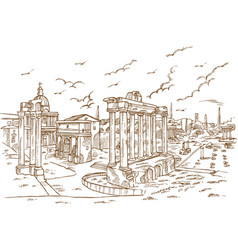 Remains temples in foro romano rome italy vector
