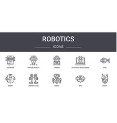 Robotics concept line icons set contains icons vector
