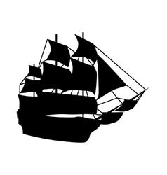Sailing ship silhouette vector