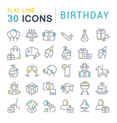 set line icons birthday vector image