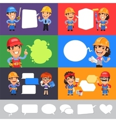 Set of a Speaking Cartoon Builders vector