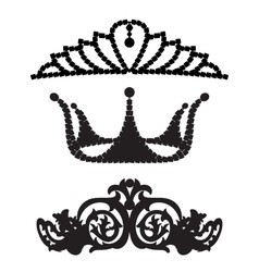 Set of female diadems on blurred background vector image