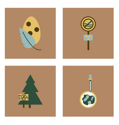 Set of modern eco system icons in flet style vector