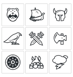 Set of Viking Icons Warrior Ship vector