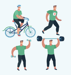 set sports man make sport exercise vector image