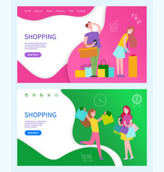 shopping with ladies and man vector image
