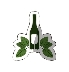 silhouette bottle wine and goblet with leaves vector image
