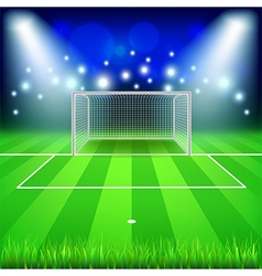 Soccer goal on field background vector