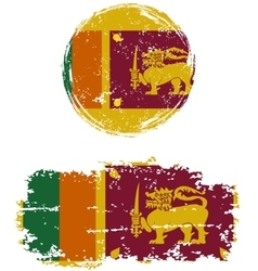 Sri Lanka round and square grunge flags vector