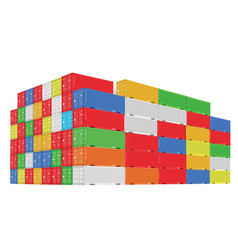 stack of colorful cargo containers with vector image