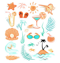 Summer holidays themed isolated set vector