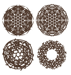 symbols of bird nests vector image