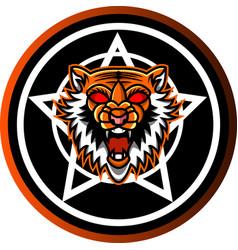 tiger head mascot with shield vector image