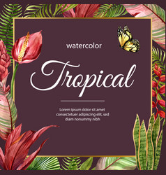 Tropical-themed border frame design with red vector