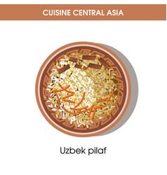 Uzbek pilaf on plate from central asian cuisine vector