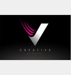 V white and pink swoosh letter logo letter design vector