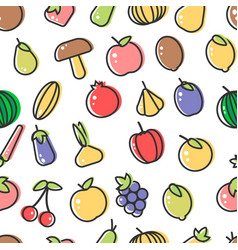 vegetable and fruits organic food seamless pattern vector image