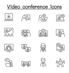 video conference icons set in thin line style vector image