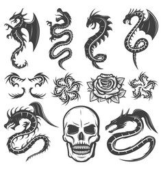Vintage monochrome tattoos collection vector