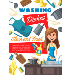 Washing dishes chore woman and sink vector