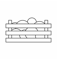 Watermelons in wooden crate icon outline style vector