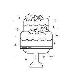 Wedding cake with flowers line art icon vector