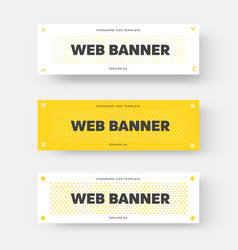 white and yellow horizontal web banner with black vector image