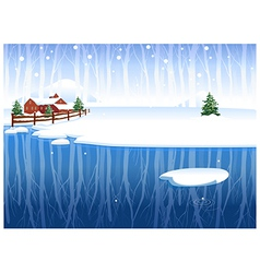 Winter Snow Landscape Background vector image