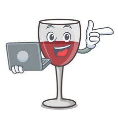 With laptop wine character cartoon style vector