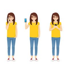 woman in jeans with phone vector image
