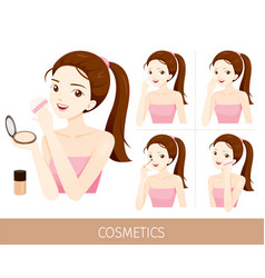 woman with step to use foundation and powder vector image