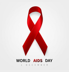 World aids day symbol 1 december realistic red vector