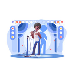Young man stand up performing on stage poster vector