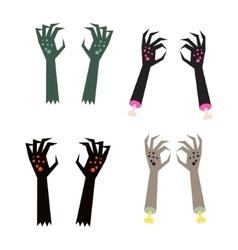 Creepy zombie corpse hands set vector