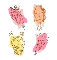 icecream doodle Set of 4 hand vector image