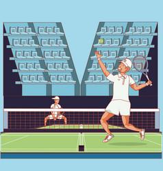men players tennis characters vector image