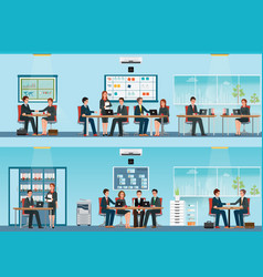 office worker with office desk and business vector image vector image