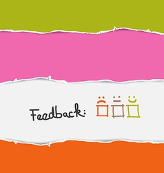 Retro Torn Paper Feedback Background Template vector image vector image