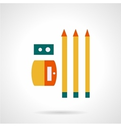 Sharpener with pencils flat color icon vector image