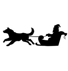 silhouette santa riding on dogs sleigh vector image